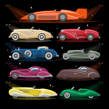 Art deco car vector retro luxury auto transport and art-deco modern automobile illustration set of old automotive vehicle and citycar with lighting headlight isolated on background illustration