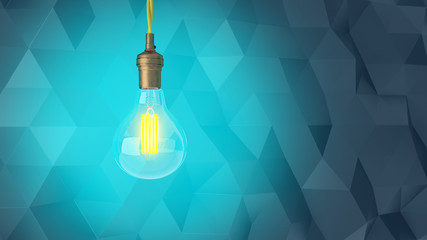 Retro light bulb on an abstract modern background of triangles. 3d rendering