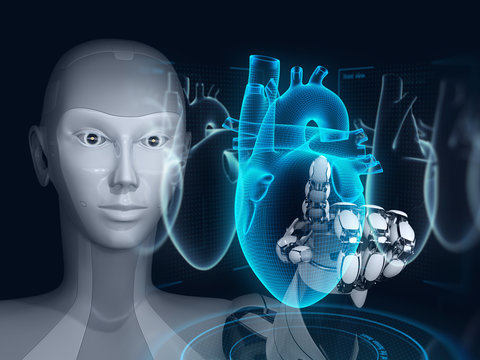 Robot research human heart by using augmented reality interface. 3D illustration.