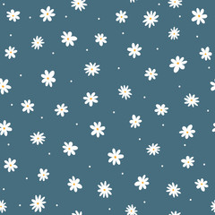 Scattered small daisies and round dots. Cute floral seamless pattern. Repeated feminine print.