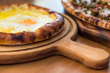 Turkish Round Pide with Fried Egg and Cheese