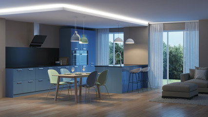 Modern house interior. Blue Kitchen. Night. Evening lighting. 3D rendering.