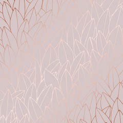 Rose gold. Decorative background with leaves