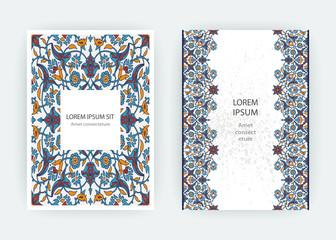 Arabesque floral decoration print, border design template vector. Oriental flowers style pattern. Eastern motif element. Ornamental frame illustration background invite, greeting card, wedding