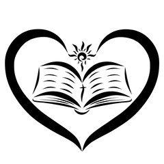 Open Bible in the heart and the shining sun