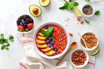 Smoothie bowl with ingredients for cooking, top view