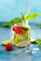 Strawberry and basil limeade