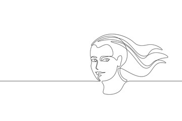 Continuous one single line art girl face concept. Beautiful woman portrait fashion hair hand drawn sketch. Beauty happy smiling young lady side head black white monochrome vector illustration