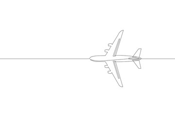 Continuous one single line art passenger airplane travel concept. Fast flying to the left plain cargo trip white sky business hand drawn sketch. Aviation transport tourism vector illustration