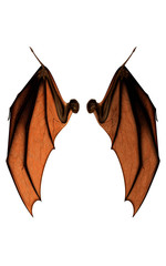 3d Illustration Devil Wings, Demon Wing Plumage Isolated on White Background with Clipping Path.