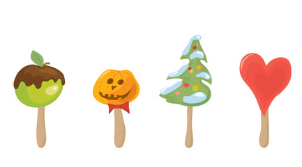 choose your sweet holiday/ set of vector festive desserts on a stick