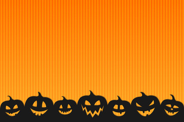 Halloween background with funny silhouettes of pumpkins. Vector.