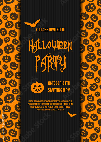 Design of halloween party invitation card with pumpkins vector design of halloween party invitation card with pumpkins vector stopboris Images