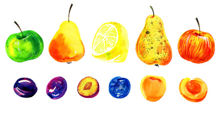 Stylized hand drawn watercolor illustration set with apples, lemons and pears