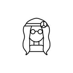 A hippie girl with glasses icon