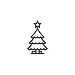 Christmas Tree Outline Icon Vector