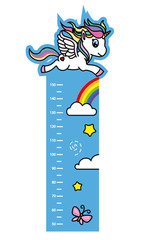 child wall meter. Flying unicorn, rainbow, stars and butterfly