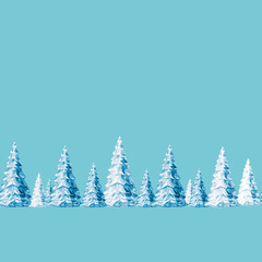 Christmas seamless pattern of winter snow-covered Christmas trees, watercolor illustration.