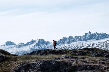 Hiker in the mountains of Thompson Pass near Valdez, Alaska