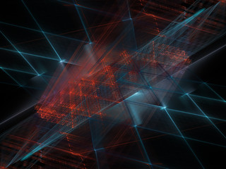 Abstract background element. Fractal graphics 3d illustration. Symmetric composition of repeating grids. Information technology concept. Blue and red on black.