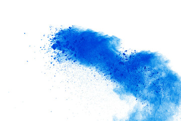 Blue powder explosion on white background. Colored cloud. Color dust ex
