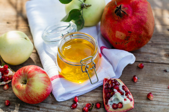 Apples, honey and pomegranate