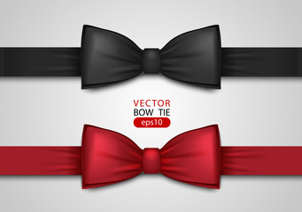 Black and red bow tie, realistic vector illustration, isolated on white background. Elegant silk neck bow. Vip event accessory