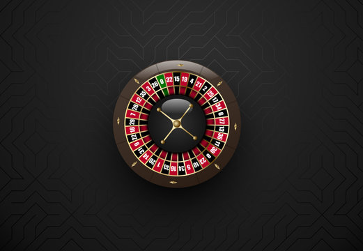 Vector black casino gambling roulette wheel. Dark silk geometric background. Online casino web banner, logo or icon.