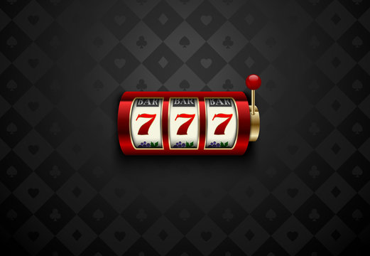 Vector red casino slot machine with lucky seven . Dark silk geometric card suits background. Online casino web banner, logo or icon. Winner casino poster.