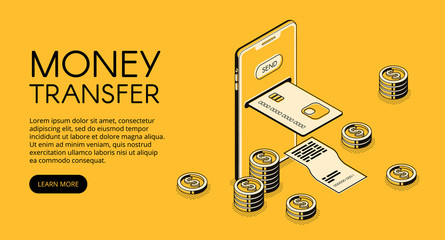Money transfer mobile phone technology vector illustration of online bank payment in smartphone application. Isometric black thin line credit card and transaction receipt on yellow halftone background