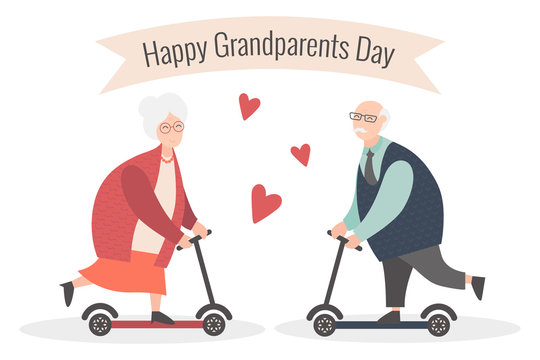 Happy Grandparents day. Vector cartoon illustration. Grandpa and grandma. Elderly couple. Old woman and old man on the scooter.