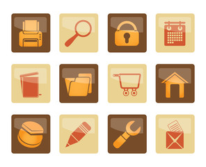 Website, internet and computer icons over brown background - vector icon set