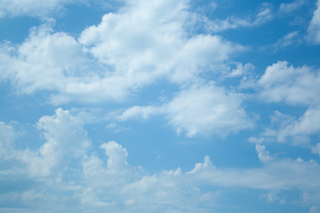 Huge clouds in blue sky