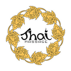 Logo for Thai massage with traditional thai ornament, pattern el