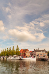 View at the historic harbor of the small city of Weesp