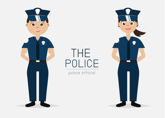 Vector Police Officer with Uniform; Smart style; Cartoon Character design.