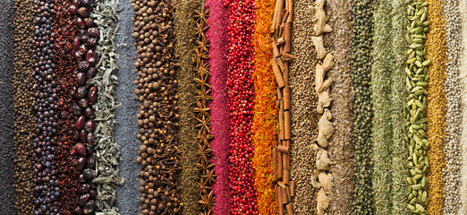 Fototapete - spices and herbs panoramic background. various seasonings are scattered on table.  flavoring for design of website header or food packaging.