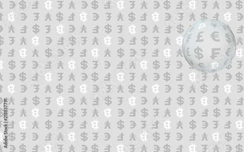 Bitcoin and currency on a gray background  Digital