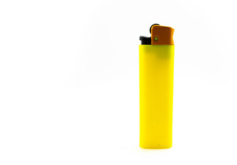 Yellow blank gas lighter isolated on white background