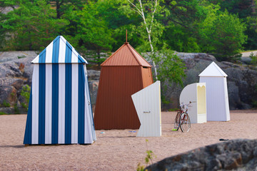 Old-fashioned changing clothes cabins in Hanko, southern Finland