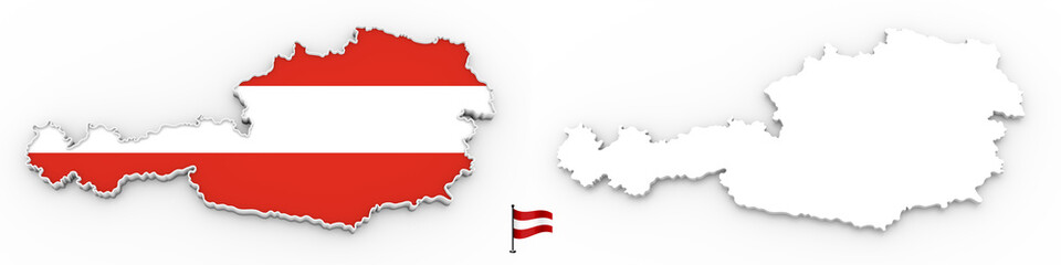 3D map of Austria white silhouette and flag