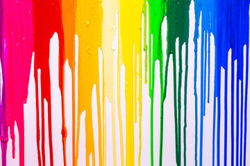 rainbow cilors of screen print colors are dripping in white background
