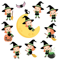 Cute Halloween Witch with Orange Hair Posing Design Elements Set Flat Vector Illustration Isolated on White
