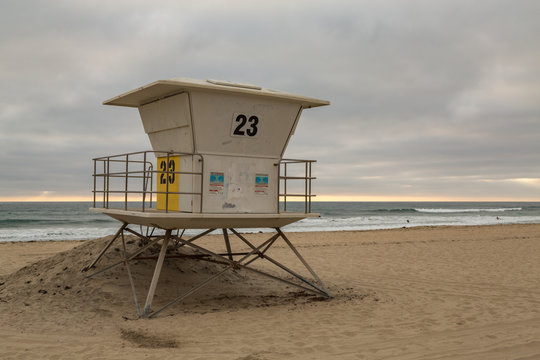 Empty Lifeguards Shack, Pacific Beach at Sunset, San Diego, California