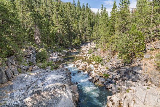 Stanislaus River Flows Through a Canyon in Calaveras Big Trees State Park, California