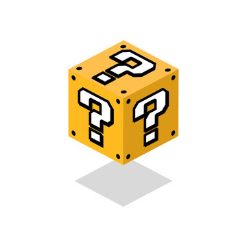 Cartoon question box. Game. Vector icon. Isometric design