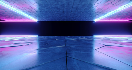 Futuristic Modern Sci-Fi Neon Tube Glowing Shapes On Rough Concrete Surface And Empty Space Between Purple And Blue Colors 3D Rendering