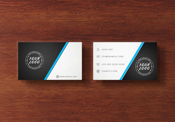 2 Business Cards Isolated on Wooden Desk Mockup