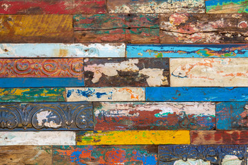 Colorful Wall of Slats of Reclaimed Old Wood