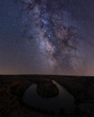Milky way over Duraton river in Segovia, Spain